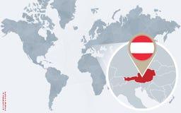 Carte bleue abstraite du monde avec l'Autriche magnifiée illustration libre de droits