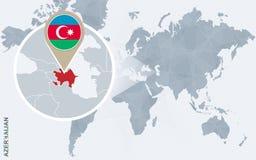 Carte bleue abstraite du monde avec l'Azerbaïdjan magnifié illustration stock