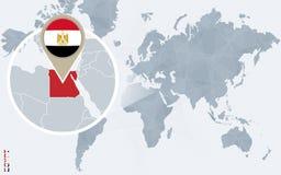 Carte bleue abstraite du monde avec l'Egypte magnifiée illustration stock