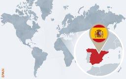 Carte bleue abstraite du monde avec l'Espagne magnifiée illustration de vecteur