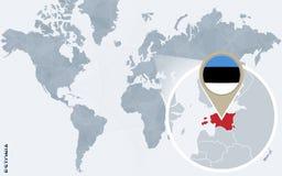 Carte bleue abstraite du monde avec l'Estonie magnifiée illustration stock