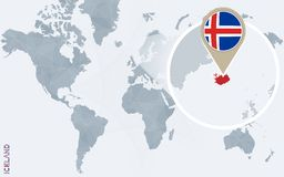 Carte bleue abstraite du monde avec l'Islande magnifié illustration stock