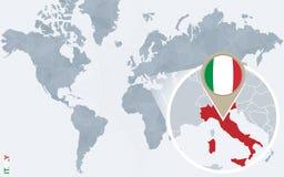 Carte bleue abstraite du monde avec l'Italie magnifiée illustration libre de droits