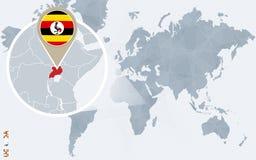Carte bleue abstraite du monde avec l'Ouganda magnifié Illustration Libre de Droits