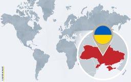 Carte bleue abstraite du monde avec l'Ukraine magnifiée illustration de vecteur