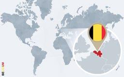 Carte bleue abstraite du monde avec la Belgique magnifiée illustration stock