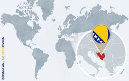 Carte bleue abstraite du monde avec la Bosnie-Herzégovine magnifiée illustration de vecteur