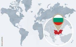 Carte bleue abstraite du monde avec la Bulgarie magnifiée illustration stock