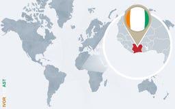 Carte bleue abstraite du monde avec la Côte d'Ivoire magnifiée illustration stock