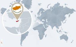 Carte bleue abstraite du monde avec la Chypre magnifiée illustration de vecteur
