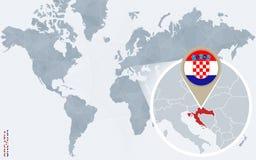 Carte bleue abstraite du monde avec la Croatie magnifiée illustration libre de droits