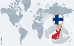 Carte bleue abstraite du monde avec la Finlande magnifiée illustration stock