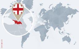 Carte bleue abstraite du monde avec la Géorgie magnifiée illustration de vecteur