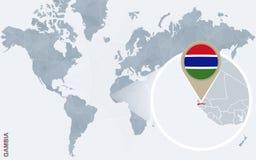 Carte bleue abstraite du monde avec la Gambie magnifiée illustration libre de droits