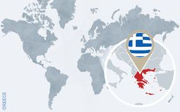 Carte bleue abstraite du monde avec la Grèce magnifiée illustration de vecteur