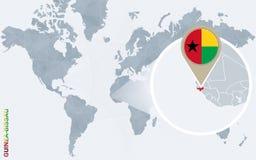 Carte bleue abstraite du monde avec la Guinée-Bissau magnifiée illustration de vecteur