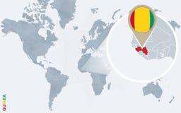 Carte bleue abstraite du monde avec la Guinée magnifiée illustration de vecteur