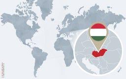 Carte bleue abstraite du monde avec la Hongrie magnifiée illustration de vecteur