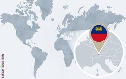 Carte bleue abstraite du monde avec la Liechtenstein magnifiée illustration de vecteur