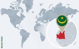 Carte bleue abstraite du monde avec la Mauritanie magnifiée illustration libre de droits