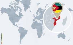 Carte bleue abstraite du monde avec la Mozambique magnifiée illustration stock