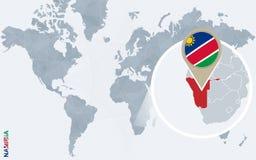 Carte bleue abstraite du monde avec la Namibie magnifiée illustration stock
