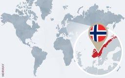 Carte bleue abstraite du monde avec la Norvège magnifiée illustration libre de droits
