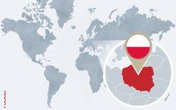Carte bleue abstraite du monde avec la Pologne magnifiée illustration de vecteur