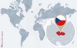 Carte bleue abstraite du monde avec la République Tchèque magnifiée illustration stock