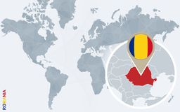 Carte bleue abstraite du monde avec la Roumanie magnifiée illustration de vecteur