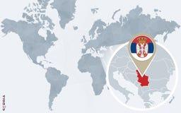 Carte bleue abstraite du monde avec la Serbie magnifiée illustration libre de droits