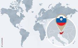 Carte bleue abstraite du monde avec la Slovénie magnifiée illustration de vecteur