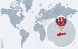 Carte bleue abstraite du monde avec la Slovaquie magnifiée illustration stock