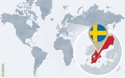 Carte bleue abstraite du monde avec la Suède magnifiée illustration libre de droits