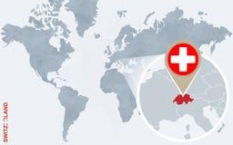 Carte bleue abstraite du monde avec la Suisse magnifiée illustration de vecteur