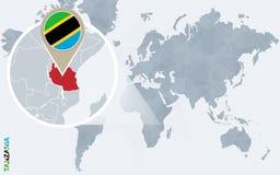 Carte bleue abstraite du monde avec la Tanzanie magnifiée illustration libre de droits