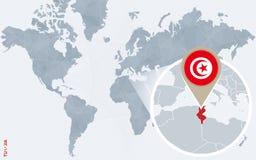 Carte bleue abstraite du monde avec la Tunisie magnifiée illustration libre de droits