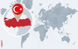 Carte bleue abstraite du monde avec la Turquie magnifiée illustration libre de droits