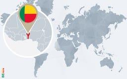 Carte bleue abstraite du monde avec le Bénin magnifié illustration stock