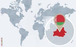 Carte bleue abstraite du monde avec le Belarus magnifié illustration libre de droits