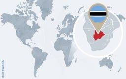 Carte bleue abstraite du monde avec le Botswana magnifié illustration de vecteur
