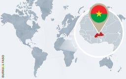 Carte bleue abstraite du monde avec le Burkina Faso magnifié illustration de vecteur
