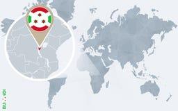 Carte bleue abstraite du monde avec le Burundi magnifié illustration de vecteur
