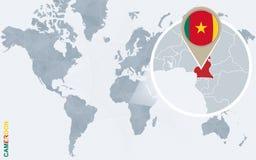 Carte bleue abstraite du monde avec le Cameroun magnifié Illustration de Vecteur