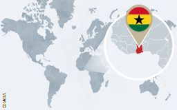 Carte bleue abstraite du monde avec le Ghana magnifié illustration de vecteur
