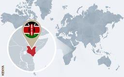Carte bleue abstraite du monde avec le Kenya magnifié Illustration Libre de Droits