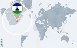 Carte bleue abstraite du monde avec le Lesotho magnifié illustration de vecteur