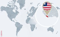 Carte bleue abstraite du monde avec le Libéria magnifié illustration stock
