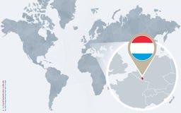 Carte bleue abstraite du monde avec le Luxembourg magnifié illustration libre de droits