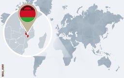 Carte bleue abstraite du monde avec le Malawi magnifié illustration libre de droits